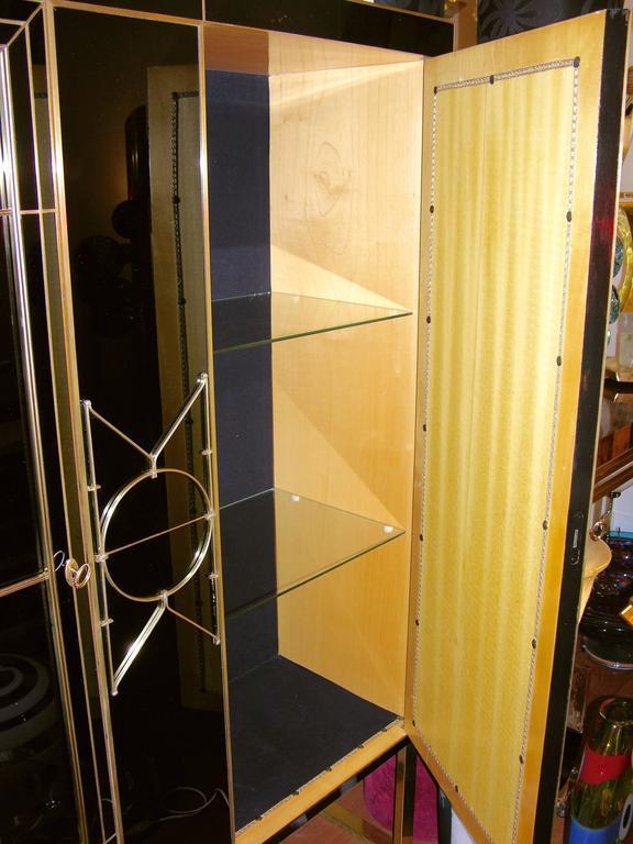 Italian Art Deco Style Black Glass Cabinet/Bar with Bronze Highlights 3