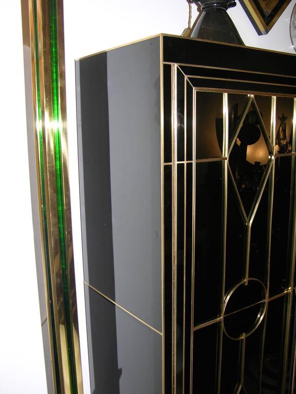 Italian Art Deco Style Black Glass Cabinet/Bar with Bronze Highlights 1