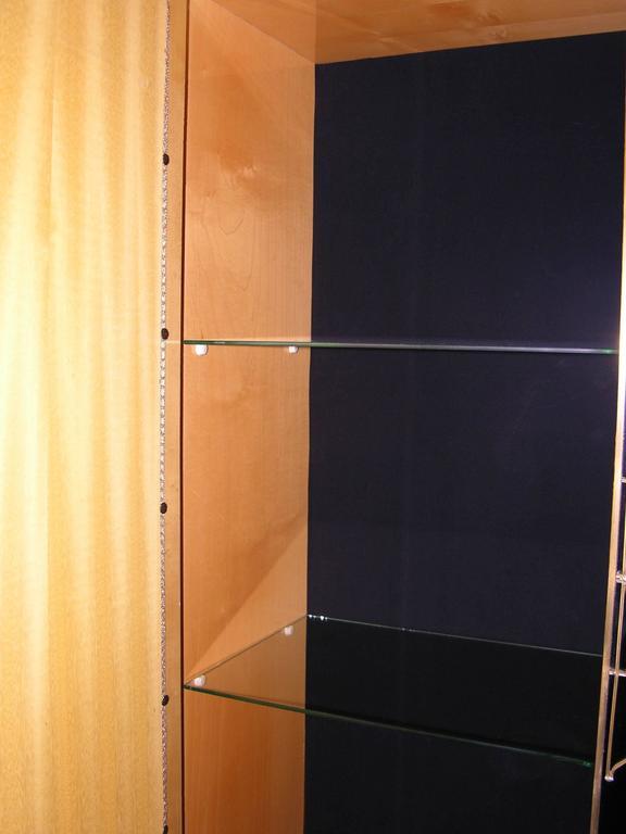 Italian Art Deco Style Black Glass Cabinet/Bar with Bronze Highlights 4