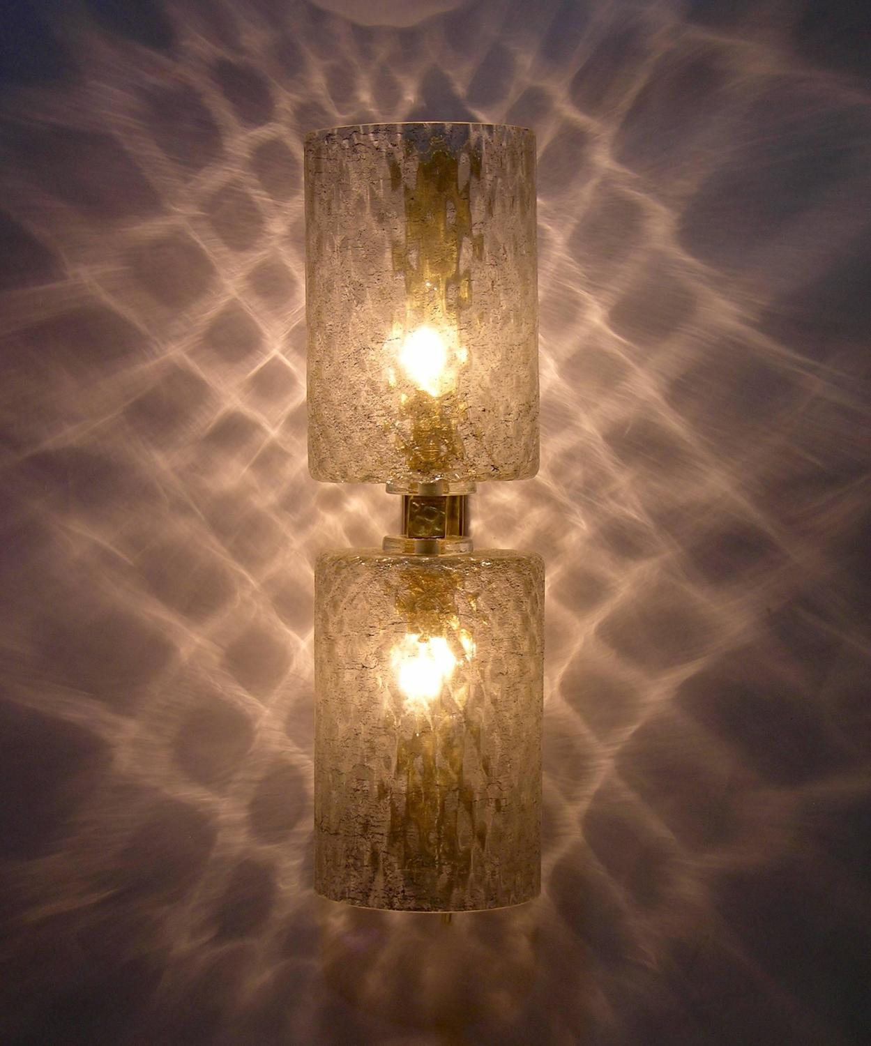 Italian Pair of Honeycomb Murano Glass Wall Lights Worked with Silver Thread at 1stdibs