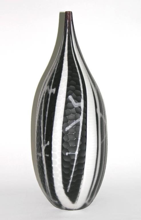 Organic modern alberto dona 1980s italian modern purple black and white murano art glass vase for