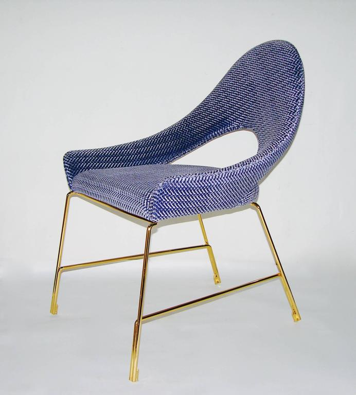 Embossed Smania Italian Modern Prototype Brass And Azur Blue Living Room  Armchair For Sale