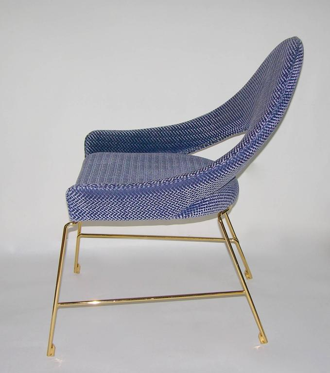 Beautiful Contemporary Smania Italian Modern Prototype Brass And Azur Blue Living  Room Armchair For Sale