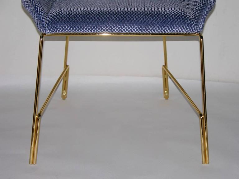 Smania Italian Modern Prototype Brass And Azur Blue Living Room Armchair  For Sale 1