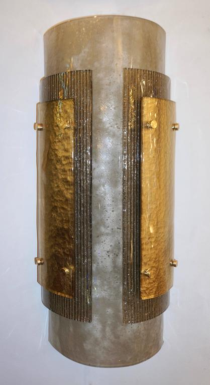 Organic Modern Italian Pair of Modern Gold Smoked Gray and Frosted Ivory Murano Glass Sconces For Sale