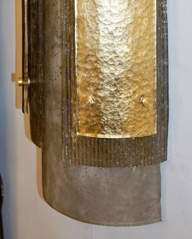 Contemporary Italian Pair of Modern Gold Smoked Gray and Frosted Ivory Murano Glass Sconces For Sale