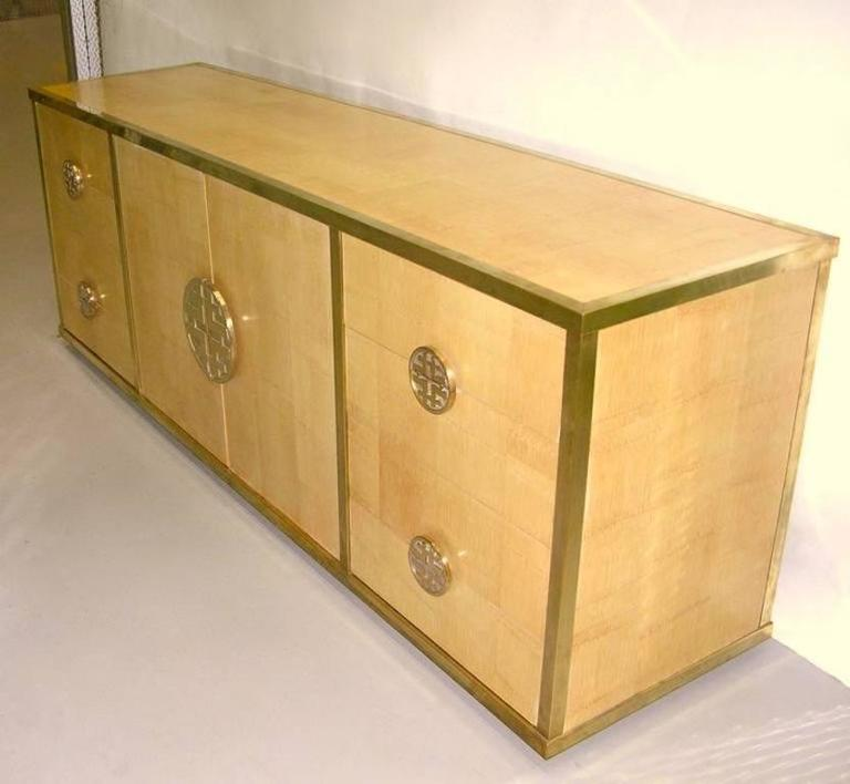 Chinoiserie Sinopoli 1970s Italian Back Finished Asian Style Brass Bamboo Sideboard/Cabinet For Sale