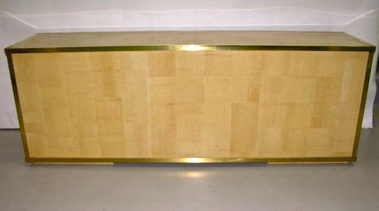Late 20th Century Sinopoli 1970s Italian Back Finished Asian Style Brass Bamboo Sideboard/Cabinet For Sale