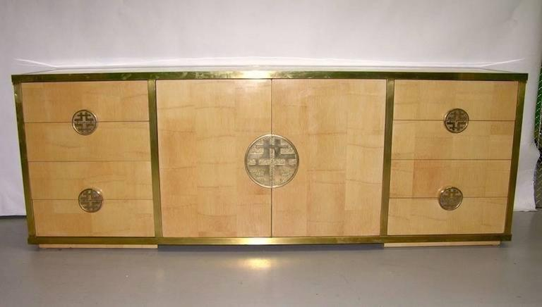 Sinopoli 1970s Italian Back Finished Asian Style Brass Bamboo Sideboard/Cabinet For Sale 4