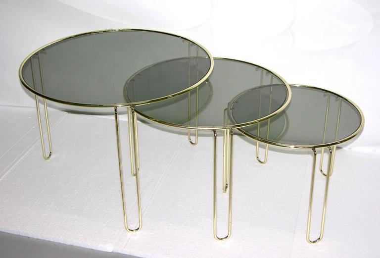 Hand Crafted 1970s Italian Minimalist Set Of Three Brass Smoked Glass Round  Nesting Tables For