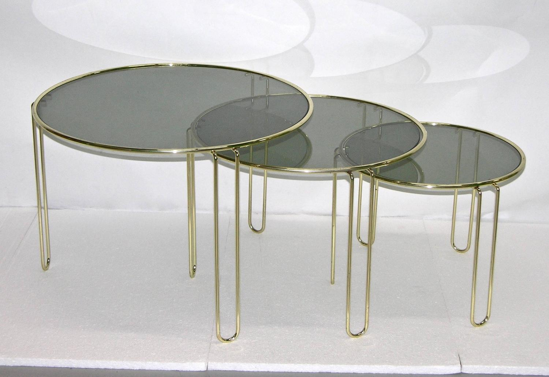 Set Of 3 Glass Tables: 1970s Italian Minimalist Set Of Three Brass Smoked Glass