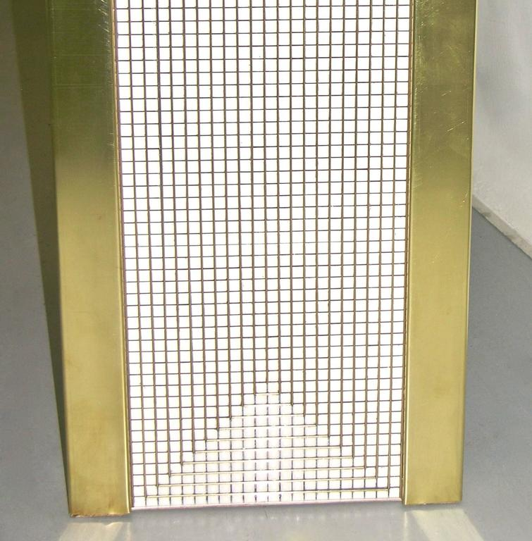 1970s Modern Italian Gold Brass and White Ceramic Mosaic Console For Sale 1