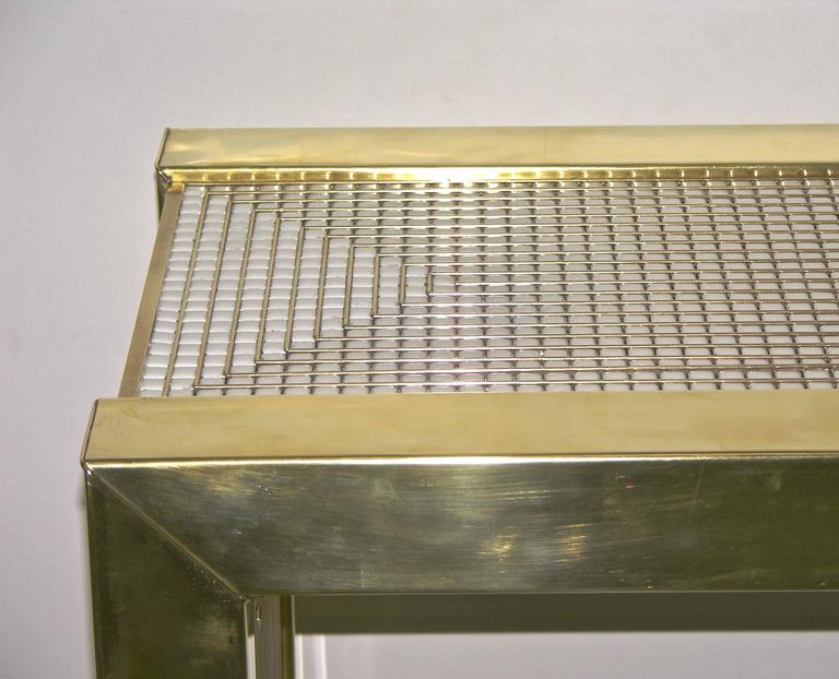 1970s Modern Italian Gold Brass and White Ceramic Mosaic Console In Excellent Condition For Sale In New York, NY