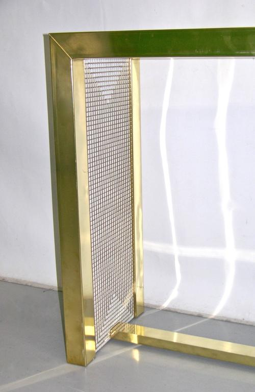 Hand-Crafted 1970s Modern Italian Gold Brass and White Ceramic Mosaic Console For Sale
