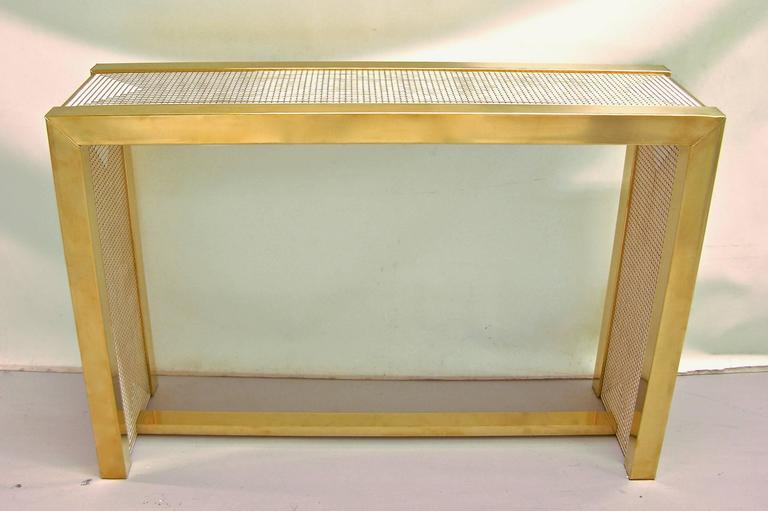 Mid-Century Modern 1970s Modern Italian Gold Brass and White Ceramic Mosaic Console For Sale