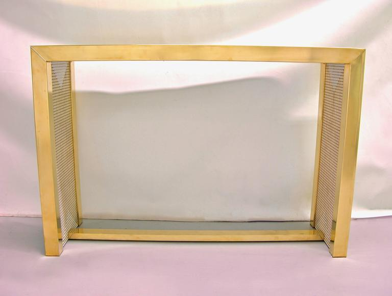 1970s Modern Italian Gold Brass and White Ceramic Mosaic Console For Sale 2