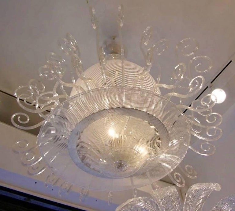Italian 1950s Rare Venini Chandelier in White Reticello For Sale