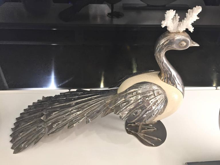 Silvered Antonio Pavia 1970s Italian Silver Plated Bird Sculpture with White Coral For Sale