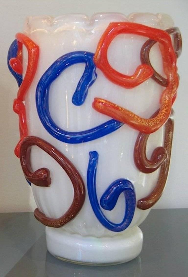 Italian Vintage Modernist Murano Glass Vase by Costantini For Sale