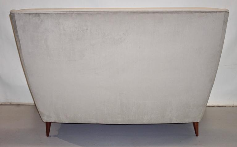 Hand-Crafted Gio Ponti Certified 1940s Vintage Italian High Back Sofa in Light Gray Velvet For Sale