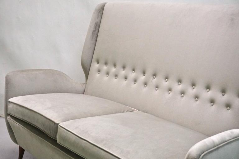 Mid-20th Century Gio Ponti Certified 1940s Vintage Italian High Back Sofa in Light Gray Velvet For Sale