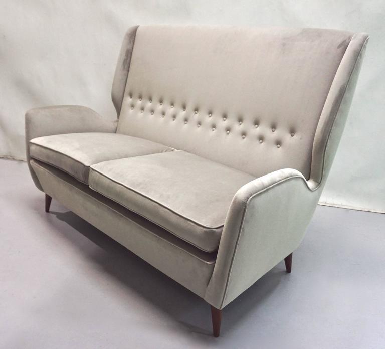 Gio Ponti Certified 1940s Vintage Italian High Back Sofa in Light Gray Velvet For Sale 3