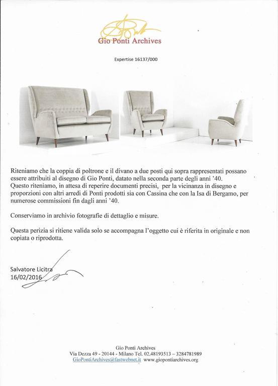 Gio Ponti Certified 1940s Vintage Italian High Back Sofa in Light Gray Velvet For Sale 1