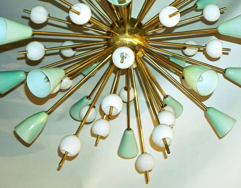 Organic Modern Contemporary Italian White and Mint Green Murano Glass Sputnik Brass Chandelier For Sale