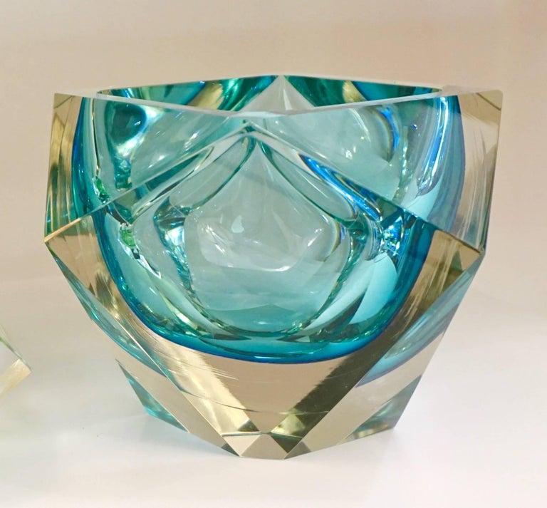 Seguso s vintage italian aqua blue diamond cut modern
