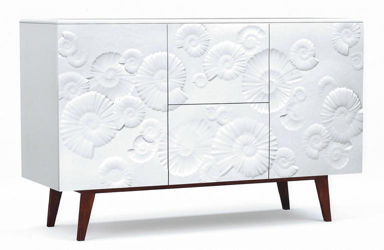 Contemporary Fine Design Italian White Sideboard/Cabinet with Burgundy Wood Legs 10
