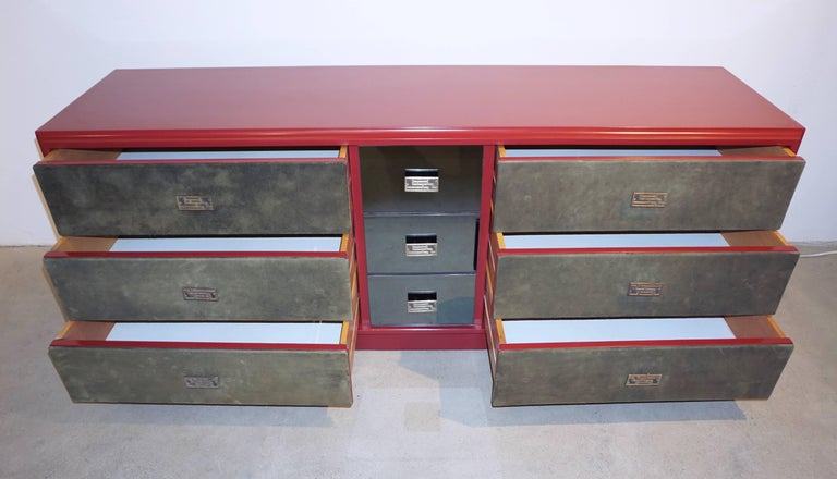 Hand-Crafted 1970 Italian Green Leather Burgundy Lacquer Dresser with Mirror & Bronze Accents For Sale