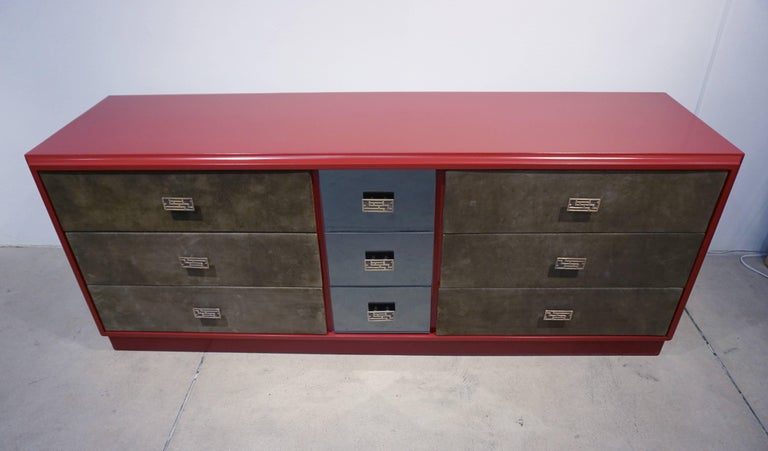 1970 Italian Green Leather Burgundy Lacquer Dresser with Mirror & Bronze Accents For Sale 3