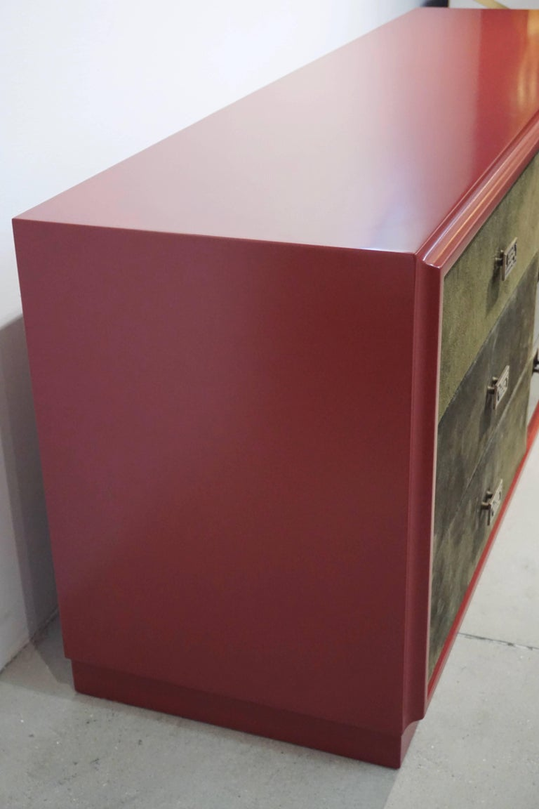 Mid-Century Modern 1970 Italian Green Leather Burgundy Lacquer Dresser with Mirror & Bronze Accents For Sale