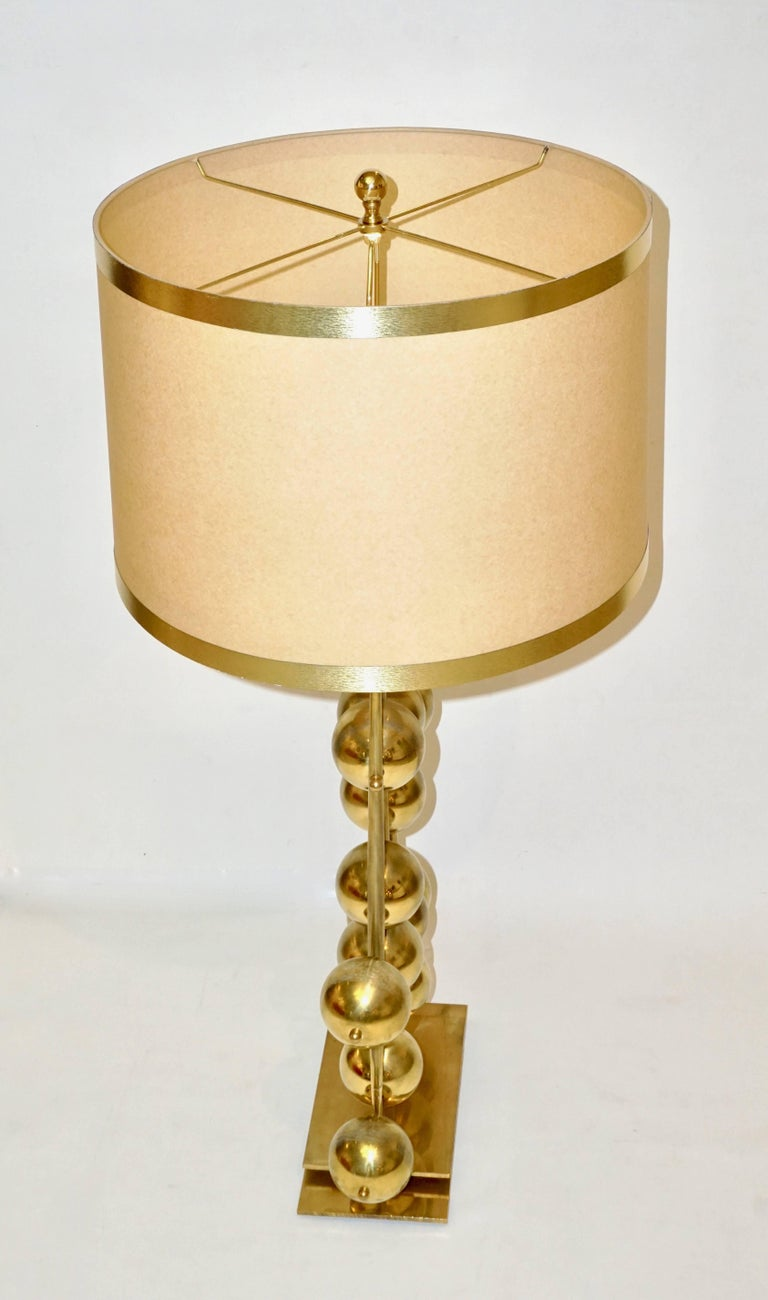 Italian Contemporary Fine Design Pair of Organic Gold Brass Lamps with Spheres For Sale 3