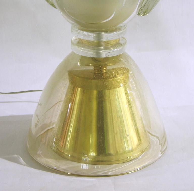 Hand-Crafted Constantini 1980s Italian Pair of Modern Brass and Gold Murano Glass Lamps For Sale