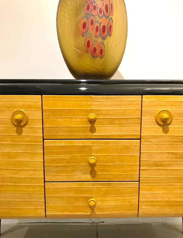 Hand-Carved Italian Contemporary Art Deco Design Black Lacquered Yellow Leather Sideboard For Sale