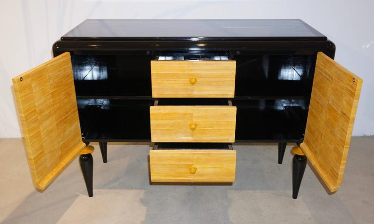 Italian Contemporary Art Deco Design Black Lacquered Yellow Leather Sideboard For Sale 3