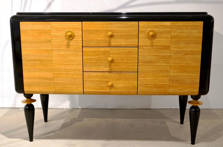 Italian Contemporary Art Deco Design Black Lacquered Yellow Leather Sideboard For Sale 4