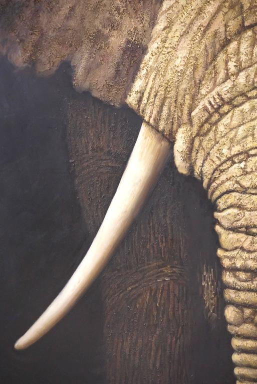 Modern Contemporary Italian Life Size Oil Painting Panel of Elephant For Sale