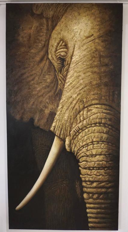Hand-Painted Contemporary Italian Life Size Oil Painting Panel of Elephant For Sale