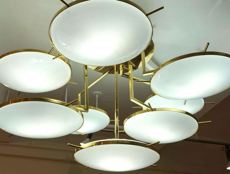 Italian Contemporary Multi Level Brass and White Murano Glass Disk Chandelier For Sale 4