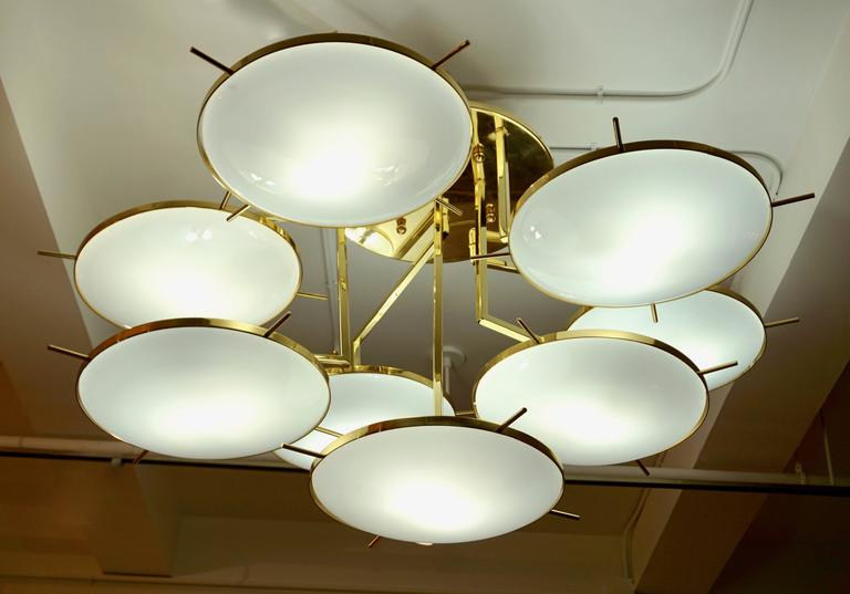 Italian Contemporary Multi Level Brass and White Murano Glass Disk Chandelier 6