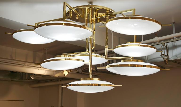 Italian Contemporary Multi Level Brass and White Murano Glass Disk Chandelier For Sale 2
