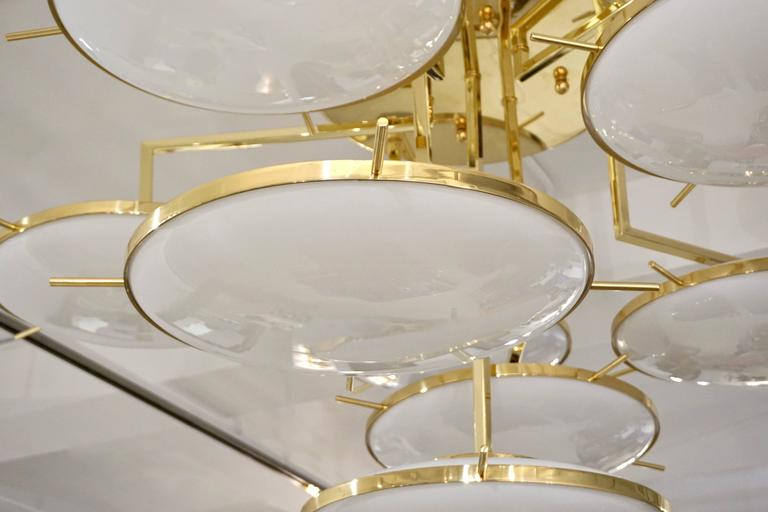Italian Contemporary Multi Level Brass and White Murano Glass Disk Chandelier In Excellent Condition For Sale In New York, NY