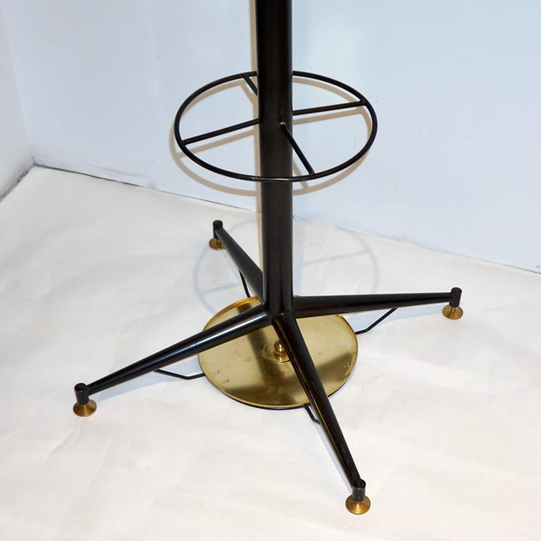 Umbrella Stand Black: Italian Modern Black Lacquered And Brass Coat Rack Or