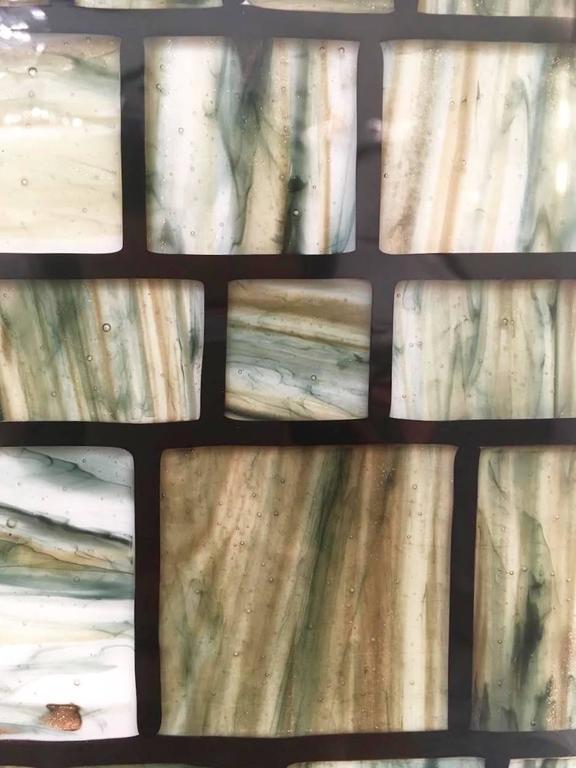 Modern Italian Green Cream Caramel White and Black Murano Glass Mosaic Mirror For Sale 1