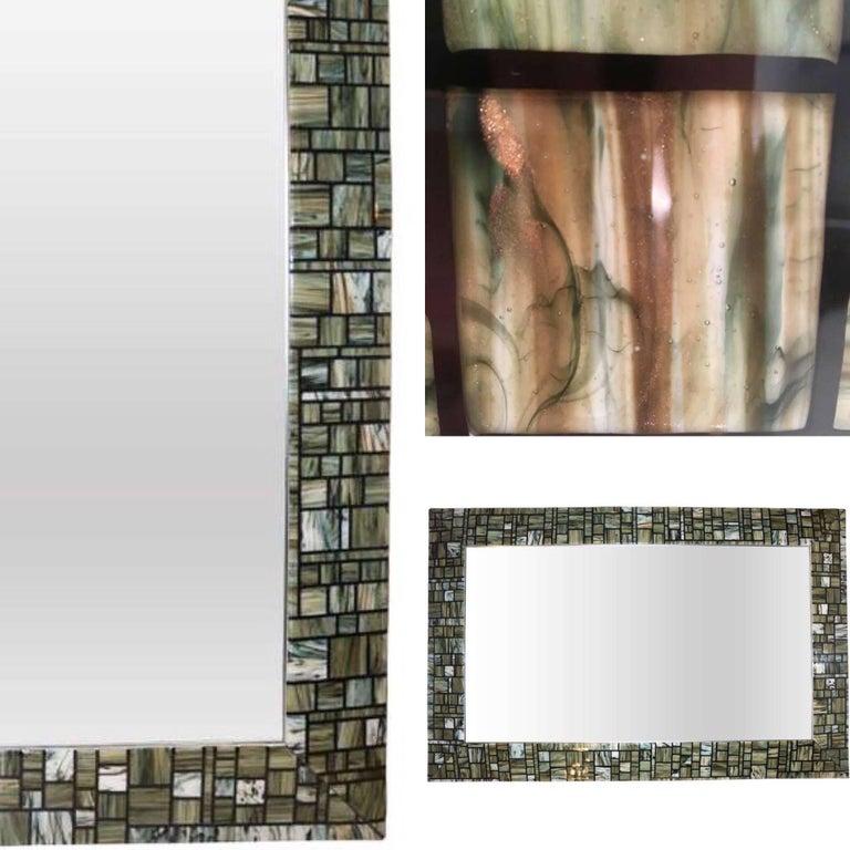 Modern Italian Green Cream Caramel White and Black Murano Glass Mosaic Mirror For Sale 2