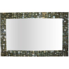 Modern Italian Green Cream Caramel White and Black Murano Glass Mosaic Mirror