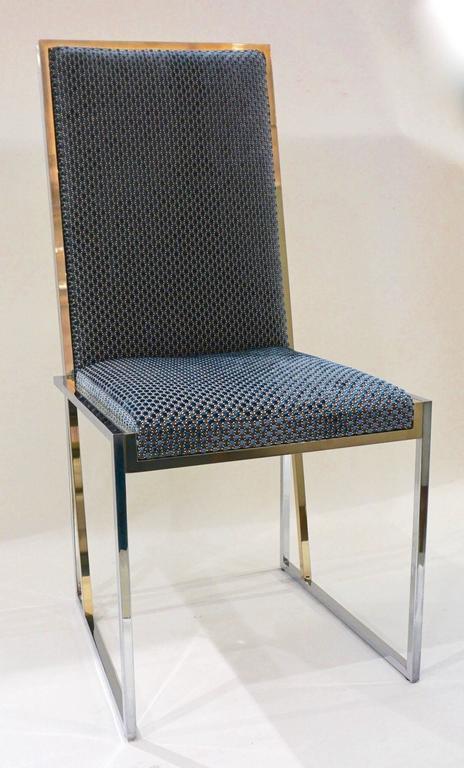 Late 20th Century Liwan's 1970s Italian 6 Blue & Satin White Fabric Brass & Chrome Modern Chairs For Sale