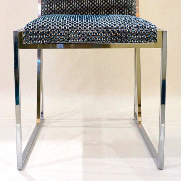 Liwan's 1970s Italian 6 Blue & Satin White Fabric Brass & Chrome Modern Chairs For Sale 1